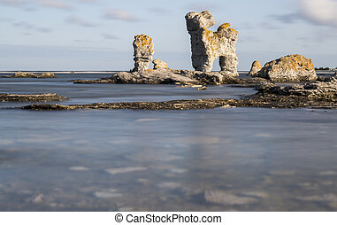 Sea Stack at Faring;rouml;, Gotland in Sweden - Sea Stack at...