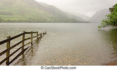 Buttermere with Fence - Buttermere with wooden fence in...
