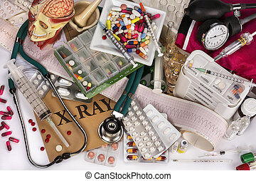 Medical Still Life - Collection of medical equipment, drugs...