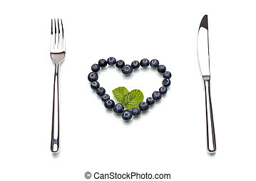 Some blueberry in heart-shape, Healthy Lifestyle, diet,...