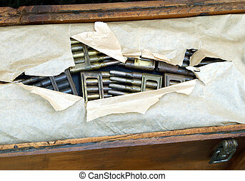 Armory of the army with a box full of ammunition and...