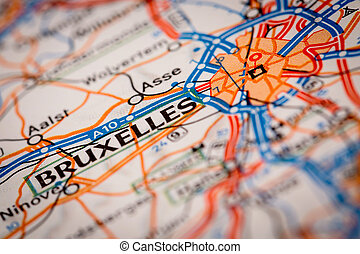 Bruxelles City on a Road Map - Map Photography: Bruxelles...