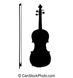 Silhouette of violin with the bow on a white