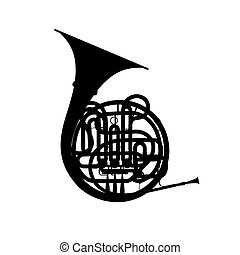 Silhouette of french horn on a white.