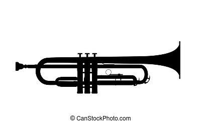 Silhouette of trumpet on a white background.