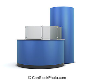Blue front desk of visitors - Blue front desk isolated on...
