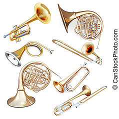 Set of wind instruments isolated on white background. 3d...