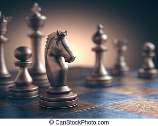 Face To Face - Chess piece in focus on the board.