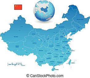 China Blue vector map Set - A High Detail vector Map of the...
