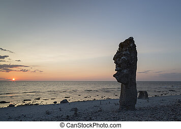 Sea Stack at Langhammar, Gotland in Sweden at sunset
