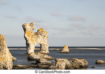 Sea Stack at Fr, Gotland in Sweden - Sea Stack at Fr,...