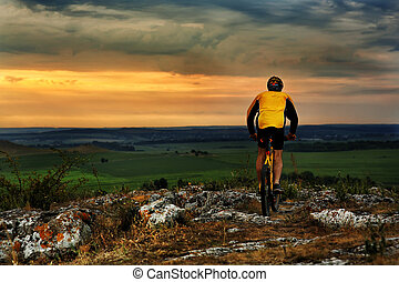 Mountain Bike cyclist riding outdoor - Mountain Bike cyclist...