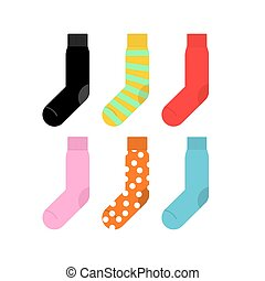 Set colorful socks. Vector illustration accessories clothing