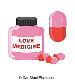 Love medicine. Bottle with pills of love. Vector illustration of medicines.