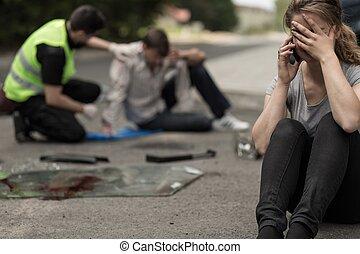 conductor, desesperación, tráfico, después, accidente