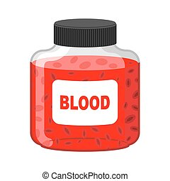 Blood Bank Bottle of Red liquid-lymph Vector illustration...