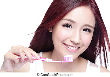 Smile woman brush teeth - Close up of Smile woman brush...