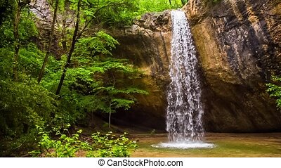 Beautiful Waterfall In Crimea Forest - This is a scenic view...