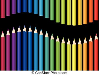 Rainbow Colored Pencils Seamless Wa - Colored pencils or...