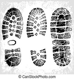 Vector Grunge Shoe Tracks - A composition of three high...