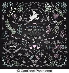 Vector Chalk Drawing Rustic Floral Design Elements - Vector...