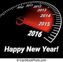 Speedometer with the date of year 2016 - Realistic...