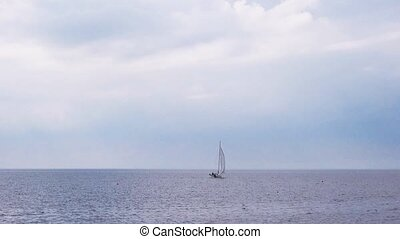 Small Sailing Yacht Boat at Sea, Sailboat Cruising Offshore,...