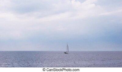 Small Sailing Yacht Boat at Sea, Sailboat Cruising Offshore,...