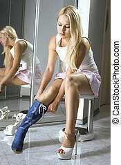blonde fits on a modern blue boots