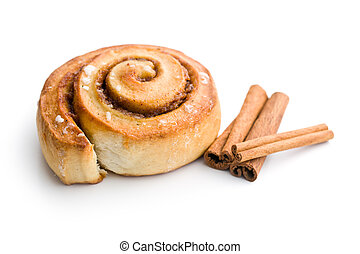 cinnamon bun on white background