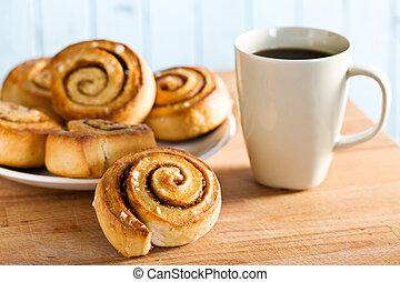 cinnamon bun on kitchen table