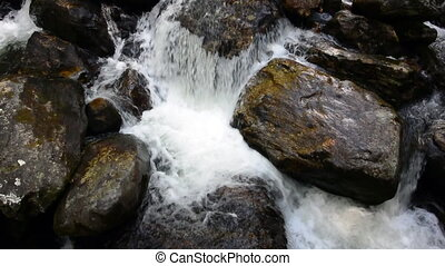 Thompson River Cascade - White water rushes over rocks in...