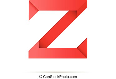 Letter Z colored paper origami
