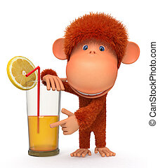 The red monkey with a cocktail - Illustration with a primacy...