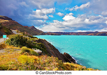 Emerald waters of Lake Pehoe - Beautiful Patagonia Park...