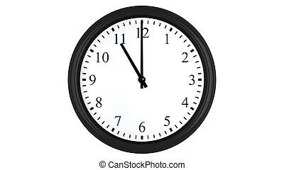 Realistic 3D clock set at 11 o'clock - Realistic 3D render...