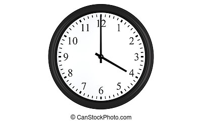 Realistic 3D clock set at 4 oclock - Realistic 3D render of...