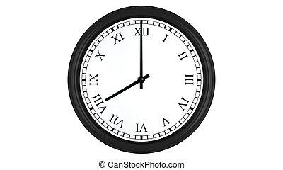 Realistic 3D clock with Roman numerals set at 8 o'clock -...