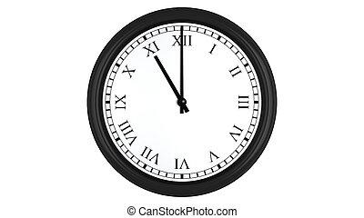 Realistic 3D clock with Roman numerals set at 11 o'clock -...