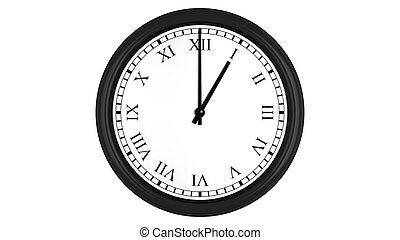 Realistic, 3D, clock, with, Roman, numerals, set, at, 1,...