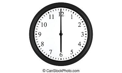 Realistic 3D clock set at 6 o'clock - Realistic 3D render of...