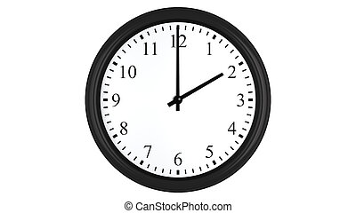 Realistic 3D clock set at 2 oclock - Realistic 3D render of...
