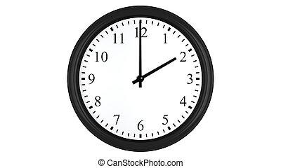 Realistic 3D clock set at 2 o'clock - Realistic 3D render of...