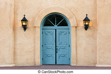 Colorful double doors of San Felipe - Blue, double doors of...