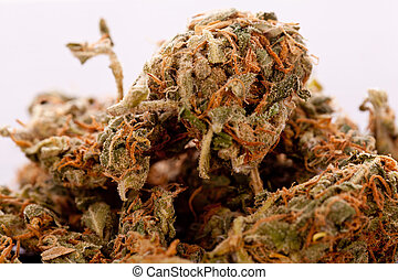 Close up Dried Marijuana Leaves on the Table - Close up...