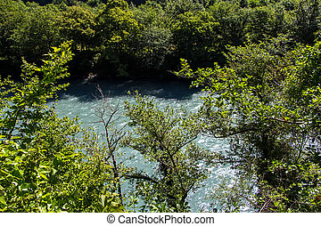 Photo of mountain river in the summer