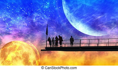 A group of people watching a futuri - Fantastic cosmic...