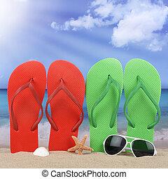 sommer, sonne, Szene, urlaub,  Sandals, sandstrand