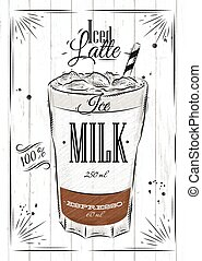 Poster iced latte - Poster coffee iced latte in vintage...