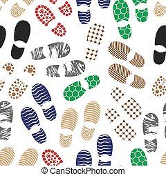 color human shoes footprint various sole seamless pattern...